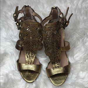 Joe's Jeans Gold Metallic Caged Sandal Heels